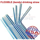 1,000 Flexible Drinking Straws (c/blue stripes) MADE IN USA
