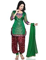 Utsav Fashion Women's Green Chanderi Brocade And Dupion Silk Jasmine Pant With Kameez-Small