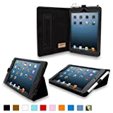 Snugg iPad Mini Leather Case Cover and Flip Stand with Elastic Hand Strap and Premium Nubuck Fibre Interior (Black) - Automatically Wakes and Puts the iPad Mini to Sleep