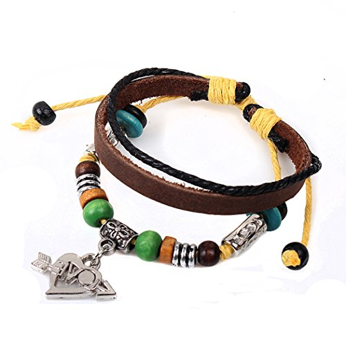 Real Spark Brownd Leather Beaded Strand Heart-Shaped Cupid Charms Wrap Bracelet (M Mud Pie Bag compare prices)