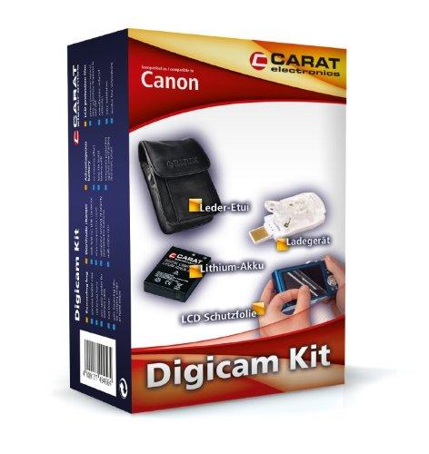 Carat Electronics DigiCam Kit Zubehörset (Akku, Ladegerät, Etui und Schutzfolie) für Canon Ixus 125 HS
