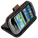 Mumbi Protective Phone Case Leather in Book-Style for Samsung Galaxy Xcover 2 Black