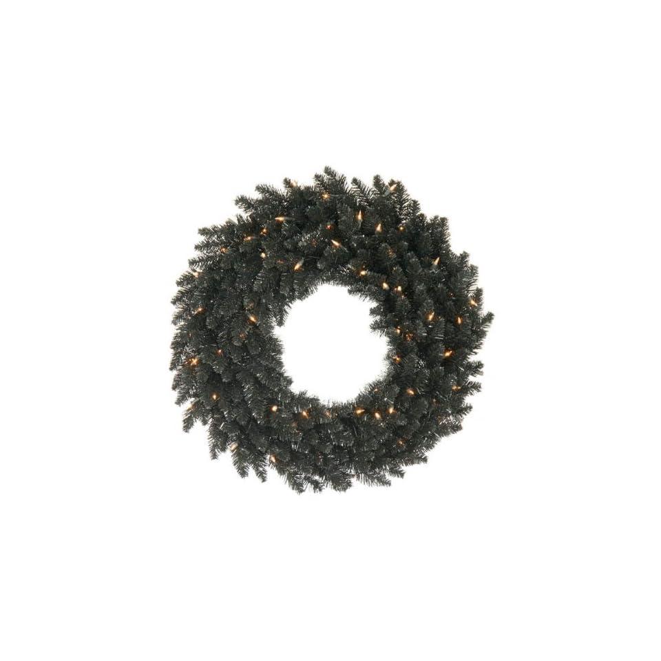 30 Pre Lit Black Ashley Spruce Christmas Wreath   Clear Lights