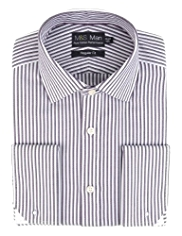 2in Longer Performance Pure Cotton Textured Striped Shirt