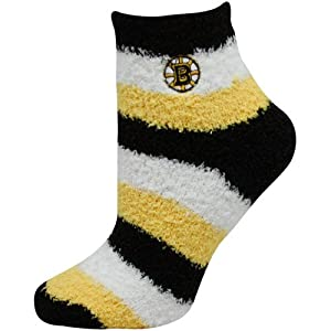 NHL Women's Boston Bruins Pro Stripe Sleep Soft Sock (Multi-Color, Shoe Sizes 6-11)
