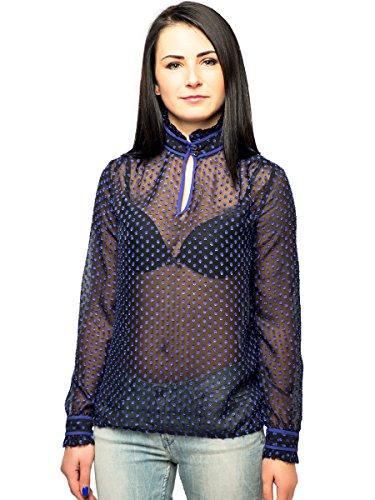 Silvian Heach - Camicia - A pois - Con bottoni  - Maniche lunghe  -  donna blu Large