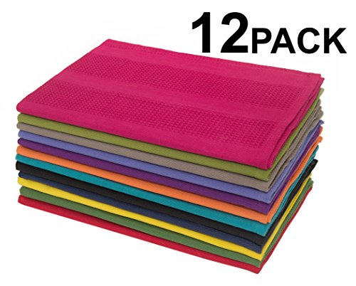 Cotton Craft - 12 Pack Multicolor Kitchen Towel Sets 16x28 - Pure 100% Cotton - Attractive Waffle Weave - Highly Absorbent, Soft & Sturdy - Add a splash of color to your kitchen and change the hues everyday - Towels have a loop for easy hanging - Set contains one each of Magenta, Lime, Ming Red, Stone, Black, Lavender, Grape, Orange, Teal, Navy, Mustard and Leaf - Easy Care Machine Wash