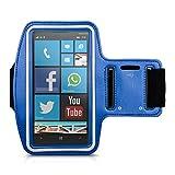 Amazon.co.jpkwmobile スポーツアームバンド Nokia Lumia 930 用 - ジョギング 歩行 スポーツバッグ 鍵ポケット付き フィットネスバンド スポーツバンド 青色