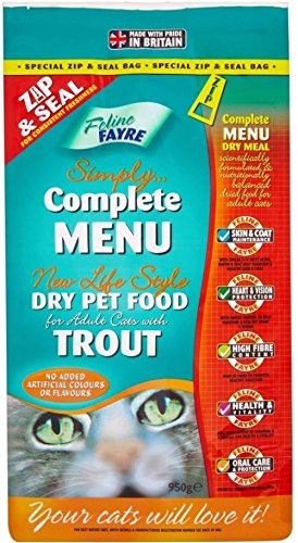 Feline Fayre Simply Complete Menu Dry Cat Food With Trout (950G)