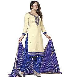 SHIVAM RETAIL DESIGNER OFF WHITE BLUE DRESS MATERIAL