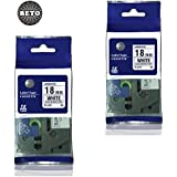 Pack Of 2 Beto Replacment TZ241 TZe241 Black On White Tape For Brother P Touch Labeler