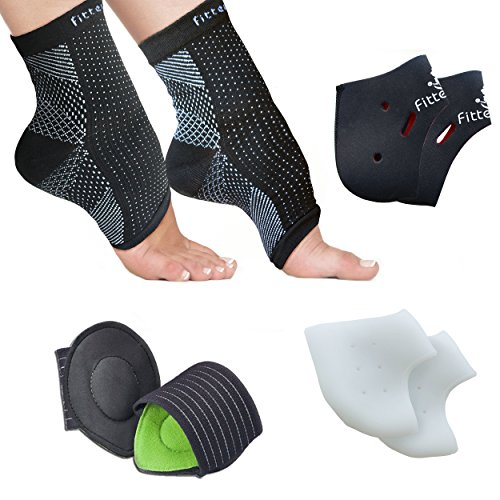 Foot Sleeve, Plantar Fasciitis Silicone Gel Heel Protectors, Arch Support Therapy Wrap & Cushioned Arch Support For Men & Women - #1 Ultra Comfortable 8 Piece Compression Bundle (Slide Chart compare prices)