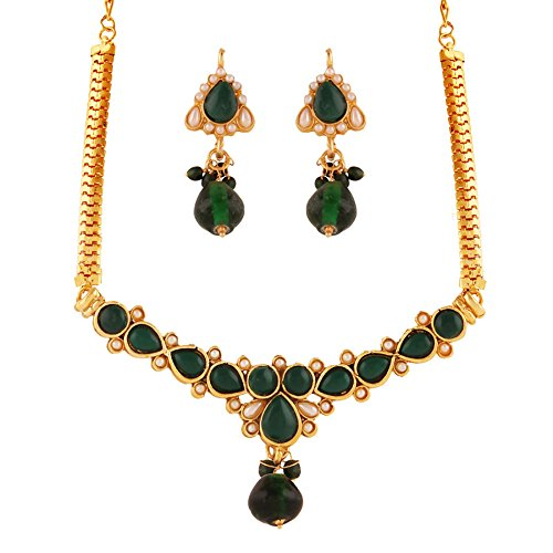 Variation Green Artificial Stone Necklace Set For Women (VD15381)  available at amazon for Rs.299