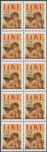 LOVE CHERUB ~ CHILD ANGELS #2948 Block of 10 x 32¢ US Postage Stamps (non-denomination stamps - 32¢ value)