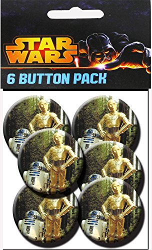 C&D Visionary Star Wars R2-D2 & C3PO 1.25 Inch Button, (6-Piece)