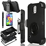 Galaxy S5 Case, ULAK Samsung Galaxy S5 Case, Heavy Duty Rugged Hybrid Rubber Shockproof Hard Case for Samsung Galaxy S5 / Galaxy SV / Galaxy S V (2014) with Belt Clip Holster Kickstand and Screen Protector + Stylus (Black/Black)