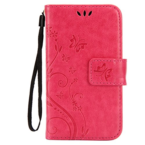 IKASEFU Pure Color Retro Butterfly Design Folio Leather Wallet Case Cover with Strap for Samsung Galaxy S3 Mini-Butterfly,Pink (Folio Samsung S3 Mini compare prices)