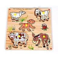 Skillofun Junior Identification Tray Useful Animals With Knobs, Multi Color