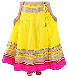 Magnus Women's Long Skirt (SKT459, Yellow, M)