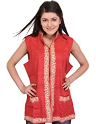 Exotic India Plain Waistcoat From Kashmir With Ari Embroidered Flowers