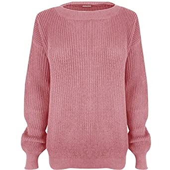 Ladies Long Sleeve Chunky Knitted OverSized Baggy Womens Plain Jumper Top 8-14