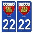 2 Stickers de plaque d'immatriculation auto 22100 Dinan - Armoiries