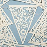 Vintage Style Paper Lace Bunting, 20 pennants, Ivory, 8 metres. Perfect for weddings, celebrations, anniversaries, birthdays or as a pretty home decoration.