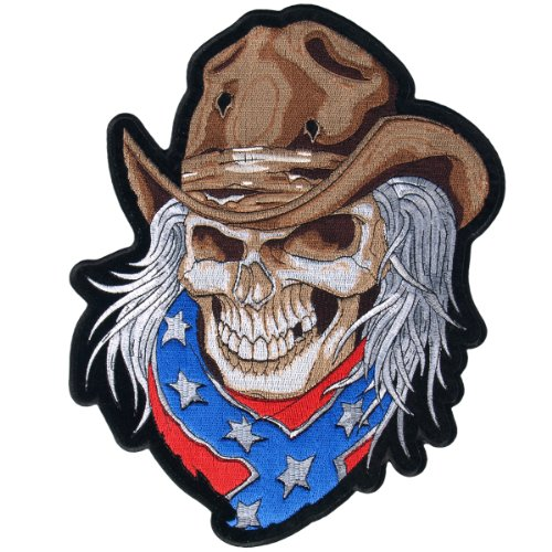 Hot Leathers Cowboy Skull Biker Patch (2