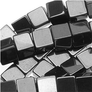 Hematite 3.5-4mm Square Cube Beads Metallic Gray / 16 Inch Strand
