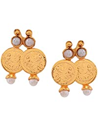 Gehnamart Yellow Gold Plated Pearl Designer Stud Earring - B01B4L2IMG