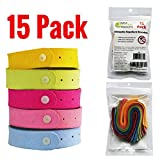 Mosquito Repellent Bracelets 15 Pack - 3,600 Hours of Effective Protection for Kids and Adults. More Effective Than Patch Lotion or Wipes - Travel Insect Repellent That is All Natural and DEET Free