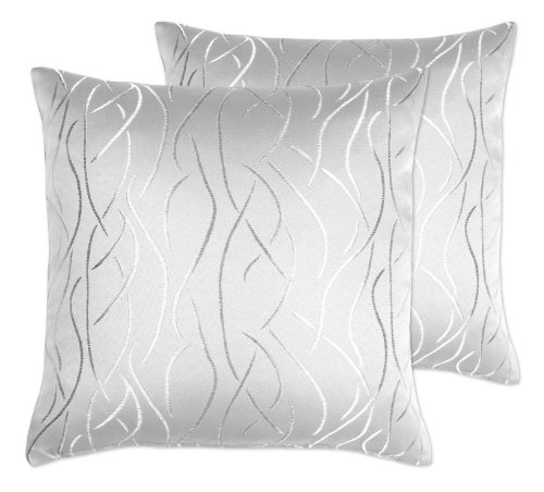Kissenhüllen 2 Stück, FARBE wählbar, Damast Streifen, 40x40 cm, Silber Grau, Beautex