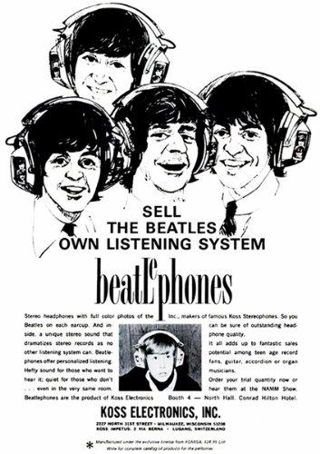 1966 The Beatles - Koss Headphones - Beatlephones Promotional Advertising Poster