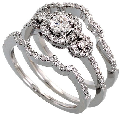 14k white gold 3 pc wedding ring set w 028 carat center 044 carat sides brilliant cut diamonds 38 in 9mm wide features