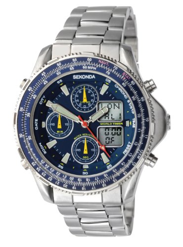 Sekonda Men's Quartz Watch with Blue Dial Analogue - Digital Display and Silver Stainless Steel Bracelet 3850.27
