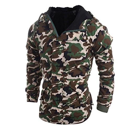 cappotto con cappuccio uomo, FEITONG autunno inverno camouflage vento Blusa (Grigio, L)