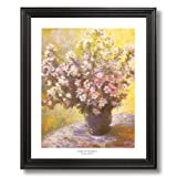 Claude Monet Vase And Flowers Home Decor Wall Picture Black Framed Art Print