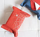 """Tissue Box Cover Rectangular Cotton Linen Woven Tissue Box Holder With Cotton Hanging Hook,13.4""""x9.5"""",Home Car Decor (Spider Man)"""