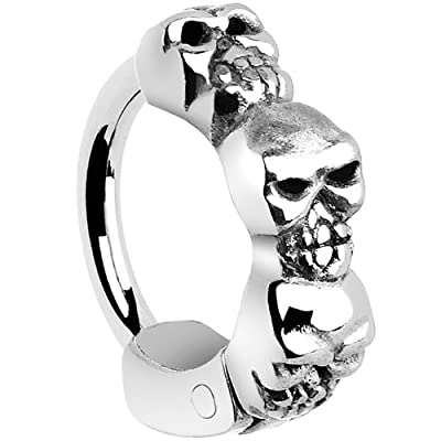 Stainless Steel Skulls Cartilage Hoop Earring from Body Candy