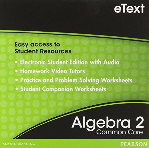 Prentice Hall Common Core Algebra 2 Student Edition eBook on CD ROM Grade 10/11