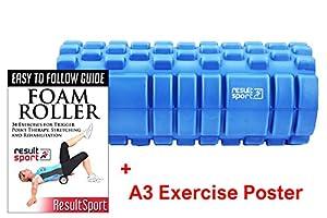 ResultSport® Velocity Grid Foam Roller 34x15cm - Blue - Trigger Point Massage