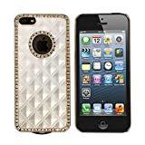 White Gold Luxury Rhinestone Diamond Bling Back Case Cover for iPhone 5 5G