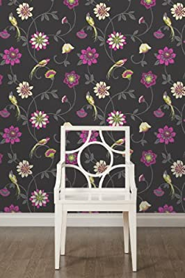Eden Floral Print Luxury Wallpaper Natural Bird Flower Leaf