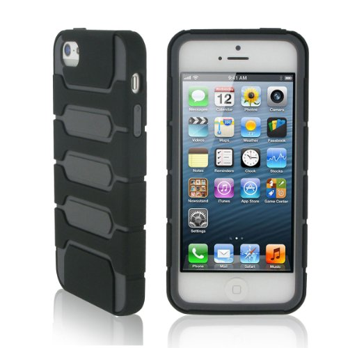 Great Price rooCASE Switch (Black / Gray) Hybrid TPU Shell Case for Apple iPhone 5S 5