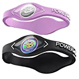 Power Balance Silicone Sports Wristbands-Lavender-PB-Black-S-Pack-of-2