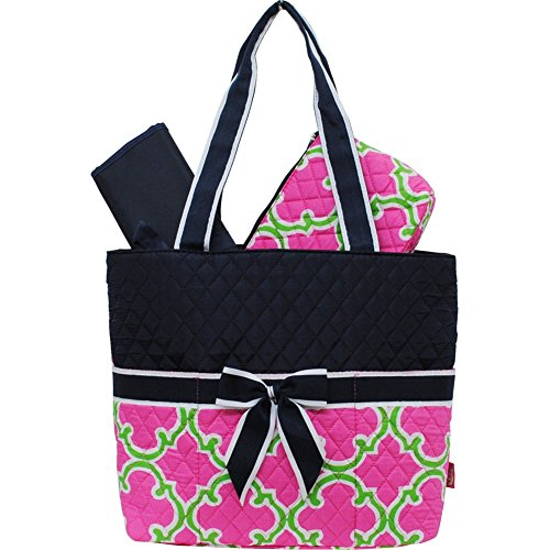 Hotpink/Lime Geometric Clover Pattern Quilted 3pc set Diaper Bag