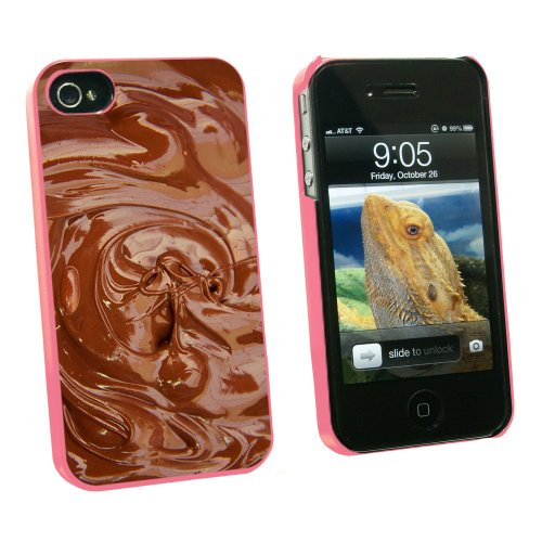 Chocolate Melted - Chocoholic - Snap On Hard Protective Case for Apple iPhone 4 4S - Pink