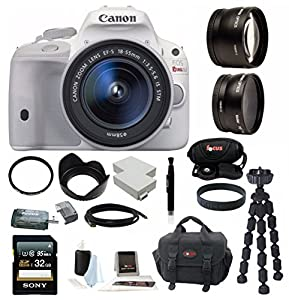 Canon EOS Rebel SL1 18MP Digital SLR with 18-55mm EF-S IS STM Lens and 3-inch Touch Screen + 32GB SDHC + Replacement LP-E12 Battery + Card Reader + Tamrac Camera Case + Tiffen Filter Set + Mini HDMI Cable + Remote Control + Accessory Kit