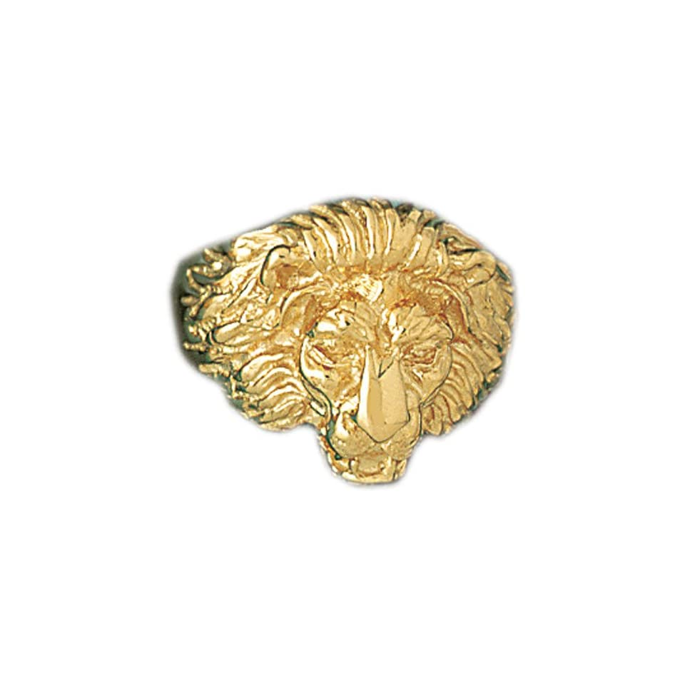 14K Yellow Gold Lion Head Mens Ring