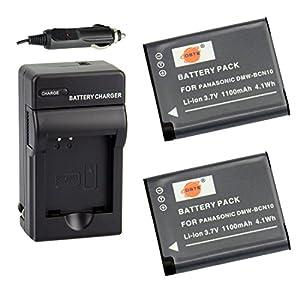 DSTE 2x DMW-BCN10 Rechargeable Li-ion Battery + DC146 wall & car Charger for Panasonic DMC-LF1 Digital SLR Camera